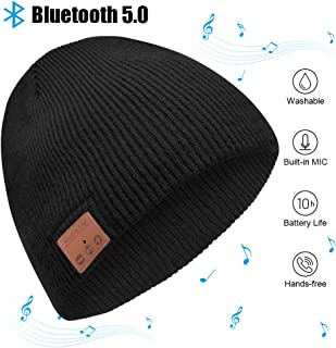 Bluetooth Beanie, Mens Gifts Bluetooth hat with Double Knitted Built-in Stereo Speaker & Mic Unique Birthday Gifts for Men Women Running Cap Fit for Outdoor Sports (Black)