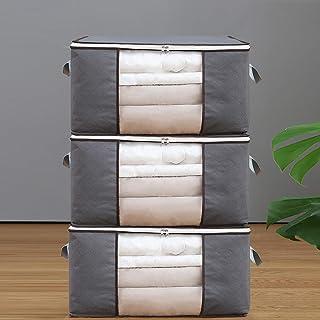 Paquet de 3 sacs de rangement pour couette, Sacs de rangement pour vêtements avec fermetures éclair et fenêtres transparen...