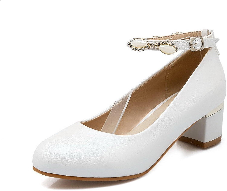 WeenFashion Women's Buckle Round Closed Toe Kitten Heels Solid Pumps-shoes