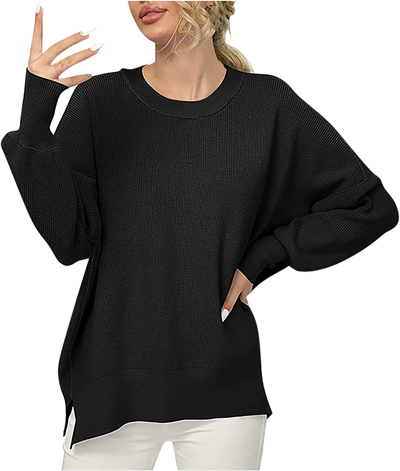 Women's Oversized Bat Sleeve Sweaters Long Sleeve Round Neck Side Split Rib Knit Pullover Solid Color Classic Sweater