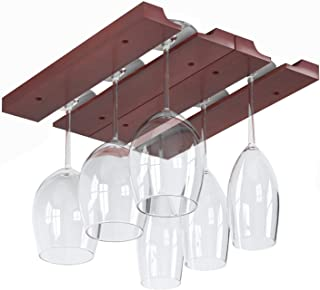 Rustic State Under Cabinet Wooden Hanging Wine Glass Holder by ArtifactDesign Adjustable 2-Sectional Stemware Storage Rack Mahogany