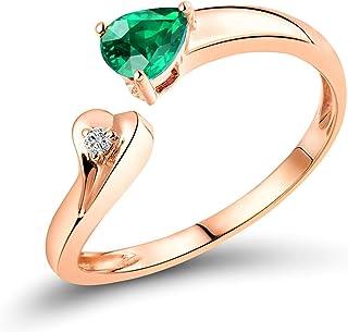Daesar Anelli in Oro Rosa 18K, Anello di Fidanzamento Donna Smeraldo 0.33ct A Forma di Pera e Cuore Diamante 0.015ct Anell...