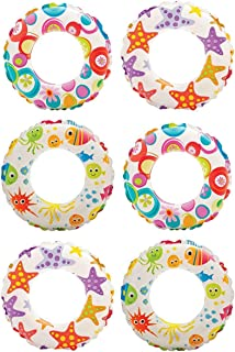 Intex Inflatable 20-Inch Lively Ocean Friends Print Kids Tube Swim Ring (6 Pack)