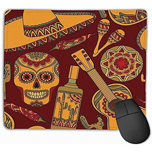 Mauspad Nahtloses Muster Traditionelle mexikanische Symbole Gitarrenkaktus Tequila Chili Pepper Maracas Sombrero Reizendes Rechteck Gummi Mousepad 30X25CM