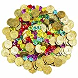 Joyin Toy 288 Pieces Pirate Gold Coins and Pirate Gems Jewelry Playset Pack Party Favor. (144 Coins+144 Gems)