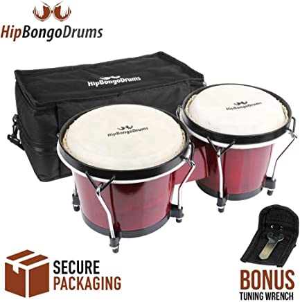 """Hip Bongo Drums Bongo Heads Replacement Pack 6"""" and 7"""", Percussion Instruments Skin with Natural Ethically Sourced Rabbit Skin Hides, Instruction Installation Provided"""