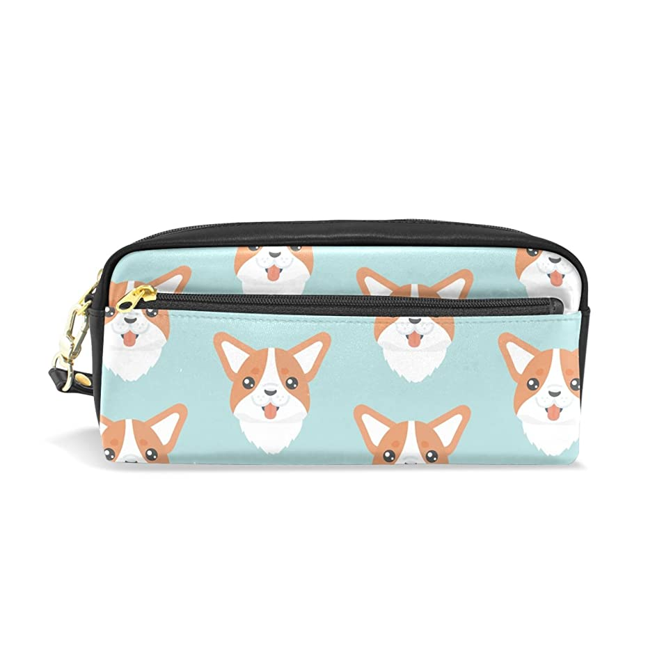 寄付する初期悪意AOMOKI ペンケース 化粧ポーチ 小物入り 多機能バッグ レディース 犬 ゴーギー ブルー