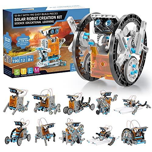 Robot Jouet Enfant 190 Pièces - 12 in 1 Robot Solaire pour Les Enfants Education de Energie et Scientifiques, STEM Jeux de Construiction Cadeau garçon 8 Ans et Plus