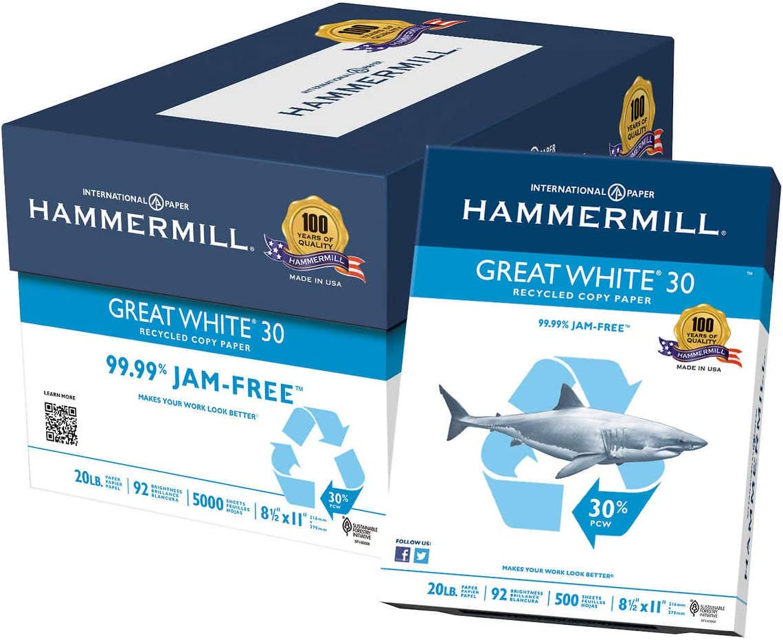HAM86700 Great White 人気ショップが最安値挑戦 Recycled Copy Paper 至上 R 500 Sheets 2x11 8-1