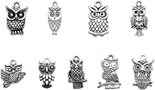 Beadthoven 50pcs Tibetan Style Alloy Owl Pendants Vintage Mixed Shapes Charms for Halloween Jewelry Crafts Making Holiday Home Decoration