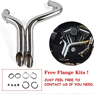 """JFG RACING 2"""" Drag Pipes Exhaust For Harley Davidson Sportster 883 1200 1986-2013 - Chrome …"""