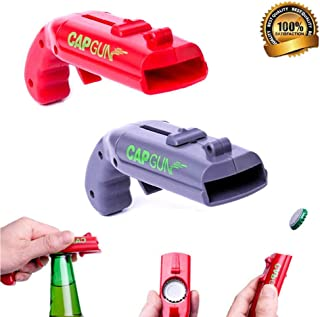 Cap Gun Bottle Opener, Launcher Shooter Beer Openers Creative Bottle Opener Shoots Over 5 Meters for Home Bar Party Drinking Game (Grey and Red) (2)