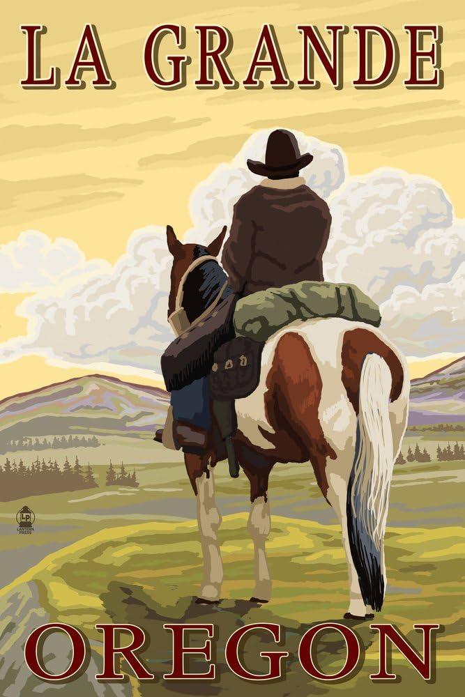 La New Free Shipping Grande Oregon Popular brand - Cowboy on Bluff Print Giclee Gallery 36x54