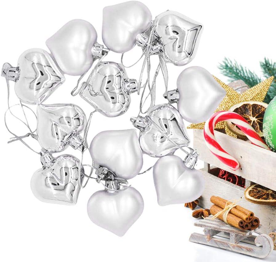 Golden LIOOBO 12 Pcs Christmas Balls Heart Shape Ornaments Pendants Shatterproof Festive Holiday D/écor Decorations for Xmas Tree Balls