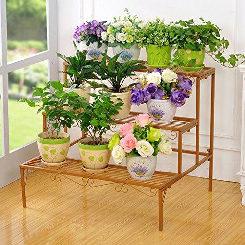 WSSF- Plancher de fleur de fer étage multicouche échelle fleur Pot étagère salon intérieur balcon plantes vertes accrocher le présentoir de fleur d'orchidée charnue, 70 * 60 * 60cm (Couleur : #3)