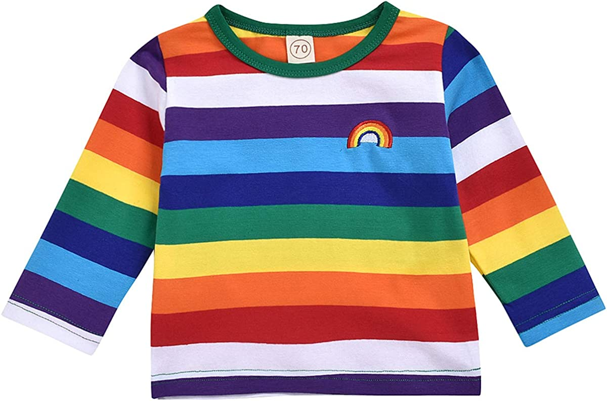 Toddler Kid Baby Boy Girl Top Long Sleeve Shirt Rainbow Blouses Tee Clothes Set