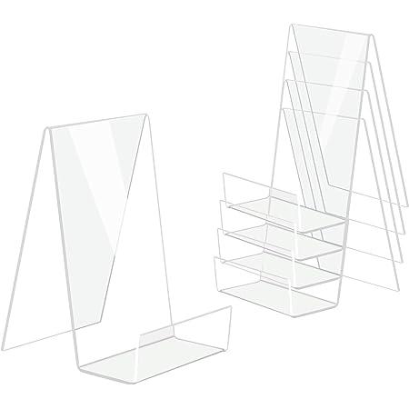 DesignSter 5PCS support de livre acrylique transparent, étagère acrylique transparente, table de support de livre pour afficher des livres, des cahiers, des albums d'images, des livres d'images