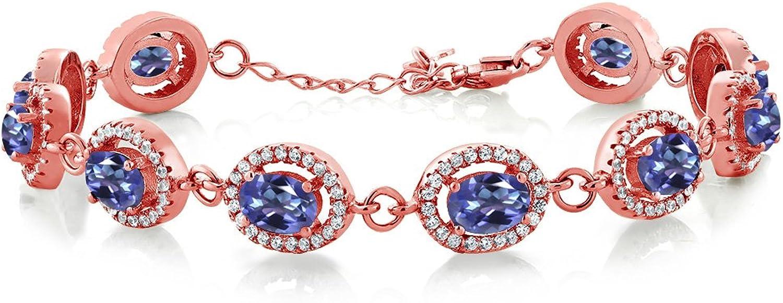 12.38 Ct Purple bluee Mystic Topaz 18K pink gold Plated Silver Bracelet