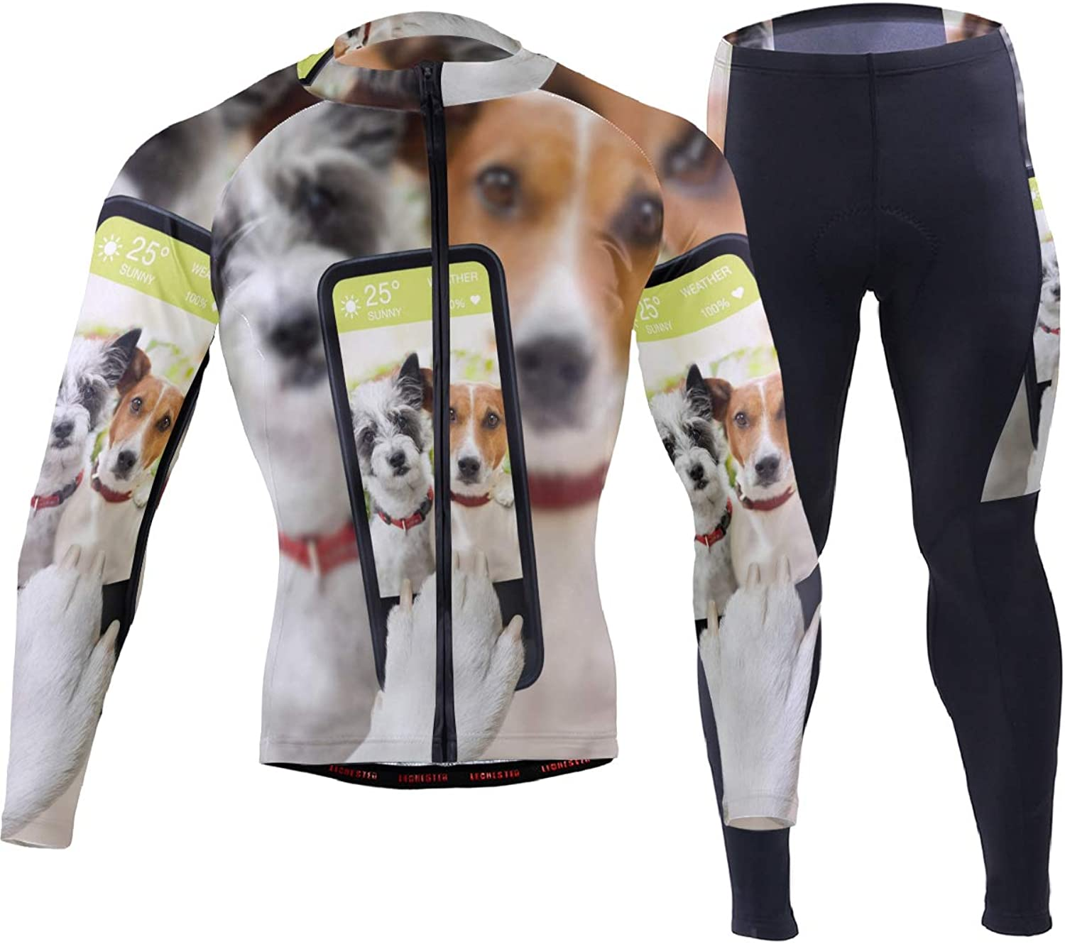 FAJRO Selfie Dogs Sportswear Suit Bike Outfit Set Breathable Quick Dry 3D Padded Pants