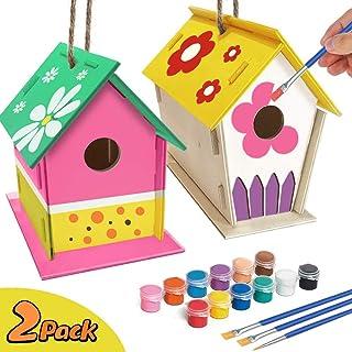jiangwangda Kirsch Basteln für Kinder Alter 4-8 - 2Pack DIY Vogelhaus Kit - Bauen und Malen Vogelhaus einschließlich Farben und Pinsel Holzkunst für Mädchen Jungen Kleinkinder Alter 3-5 8-12