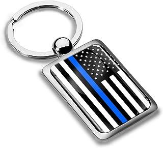 Thin Blue Line USA American Flag Keychain KK 232