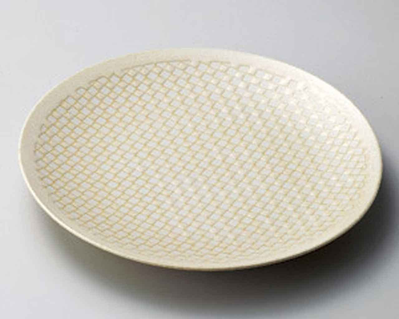 Square Genuine Free Shipping Cream New Free Shipping 11.2inch Set of 5 SUSHI Made PLATES Beige porcelain
