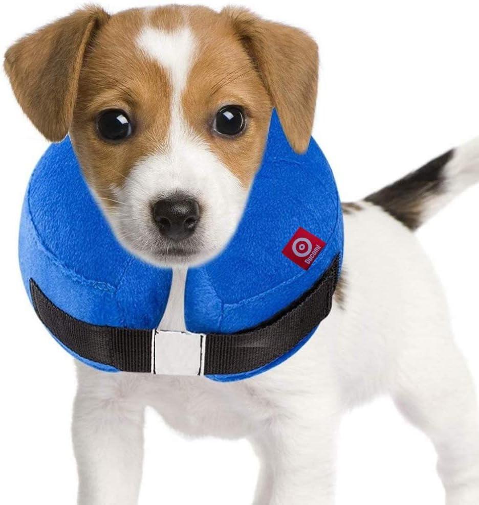 Ducomi Collar de Recuperación Inflable para Perros, Cono de Cuello Isabelino Ajustable para Mascotas Recuperación de Cirugía o Heridas - Previene la Infección por Arañazos y Picaduras (Azul, L)