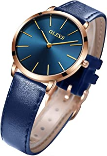 Womens Watch Leather Bnad Minimalist Ultra Thin Wrist Watches for Women Ladies Royal Blue Slim Dress Waterproof Big Face Date Calendar Quartz Analog Rose Gold Case Casual Simple Classic Gifts