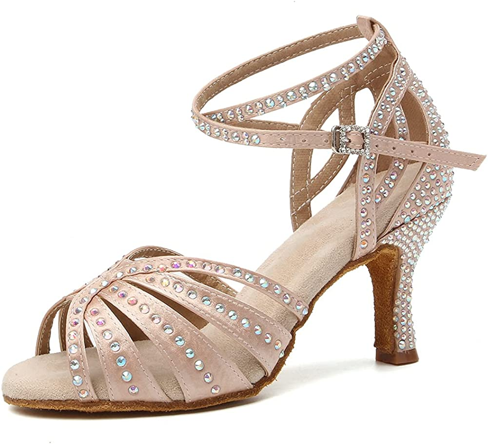 VCIXXVCE Women Satin Latin Ballroom Shoes Salsa New Shipping unisex Free Rhinestone Dance