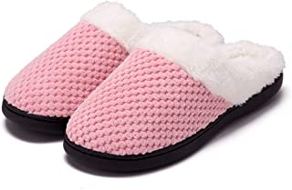 Guomao Men's Comfortable Memory Foam Slippers Imitation Wool Plush Velvet-Lined Shoes (Color : Pink, Size : 40-41)