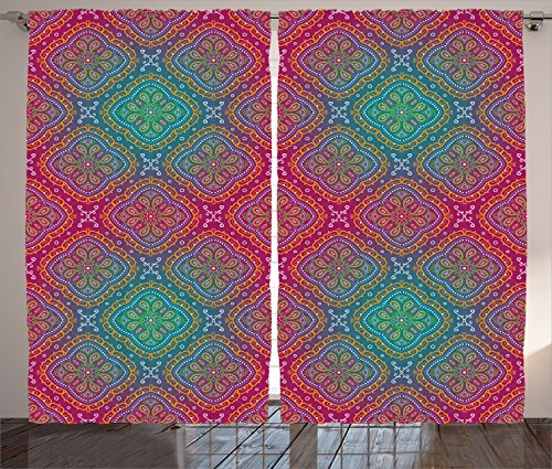 Ambesonne Psychedelic Curtains, Bohemian Paisley Pattern Royal Colors Ombre Print Oriental Floral, Living Room Bedroom Window Drapes 2 Panel Set, 108' X 84', Pink Teal
