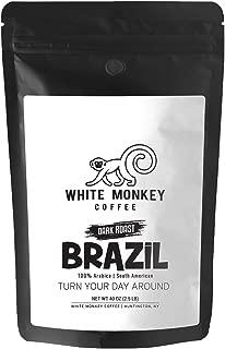 White Monkey 2.5LB Gourmet Bulk Coffee Brazil Dark Roast Blend | Brazilan Beans | 100% Arabica | French Roast | Kosher | 25% Larger than 2LB | Whole Bean Coffee, 2.5 Pound (2.5 lb) Bag