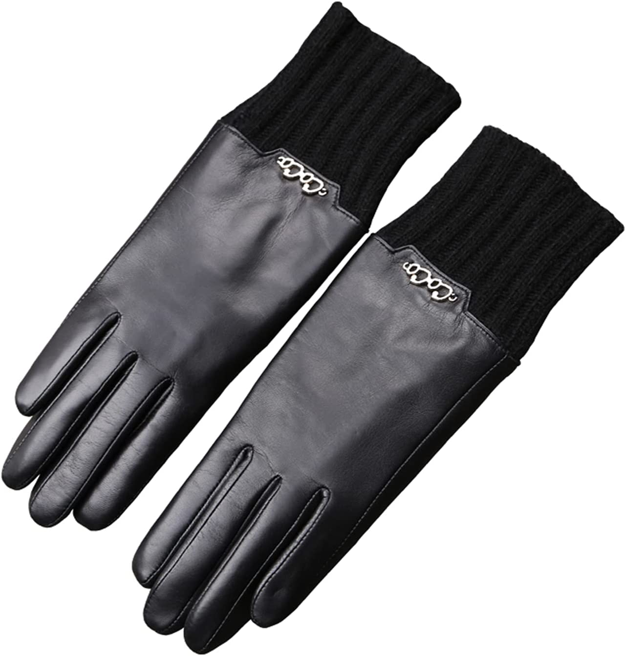 Jjshueryg Max 49% OFF Women's Leather Gloves with Line Woolen and Full Inner Dedication