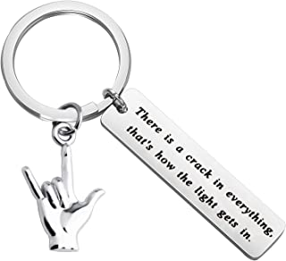 Best FUSTMW I Love You Hand Sign Language Charm Keychain ASL Jewelry Deaf Awareness Gifts There is a Crack in Everything That is How The Light gets in Language Interpreter Gift Review