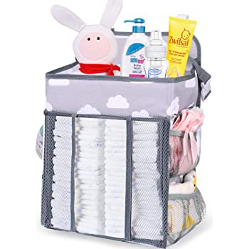 Baby Stroller or Wall Zwini Baby Nursery Organizer Portable Hanging Nappy Diaper Caddy Organiser Muitifuctional Diaper Nappy Toys Storage Bag for Changing Table Playard Crib