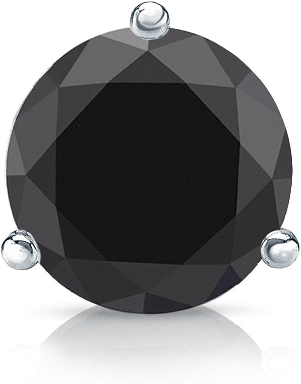 Diamond Wish Platinum Round Black STUD Earring SINGLE Purchase 1 Under blast sales