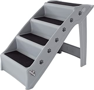 PETMAKER Folding Plastic Pet Stairs Durable Indoor or Outdoor 4 Step Design with Built-in Safety Features for Dogs Cats Home Travel by – Gray