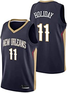 N / A Men's Basketball Jersey - Jersey Pelicans # 11 Jrue Holiday Breathable Sleeveless Sports Fitness T-Shirts Fans Basketball Uniform,L,Small