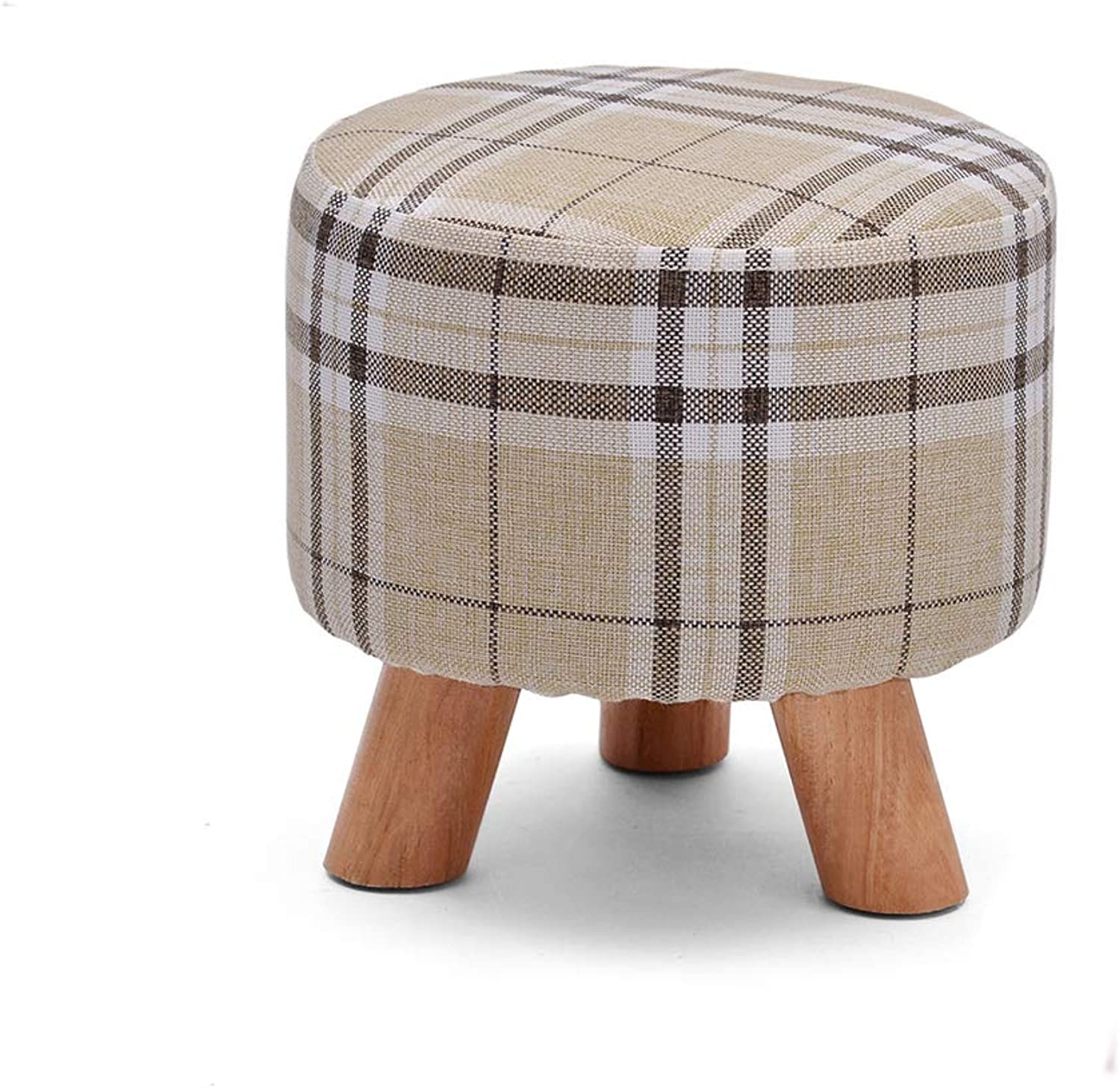 Wooden Footrest Stool, Small Portable Comfy Sponge Bench with Detachable Wooden Legs Modern Decoration for Home Travel-C 29x28cm(11x11inch)