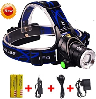 Brightest and Best LED Headlamp 2000 Lumen flashlight - IMPROVED LED, Rechargeable 18650 headlight flashlights, Waterproof Hard Hat Light, Bright Head Lights, Running or Camping headlamps