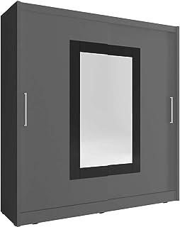 Sarah Grande armoire à 2 portes coulissantes avec miroir Style moderne Gris 200 cm