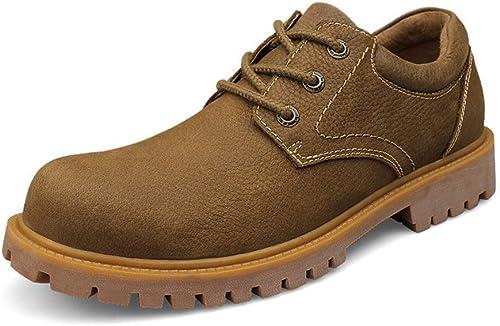Wanlianer Chaussures en Cuir pour Hommes Bottines Bottines à la Mode, Style Britannique, Bottes de Travail Confortables et Confortables Chaussures Oxford d'affaires (Couleur   Kaki, Taille   44 EU)  10 jours de retour