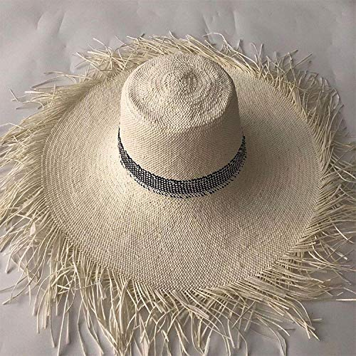 Sun Hat Straw Hat Women Straw Sun Hat Large Wide Brim Panama Beach Straw Sun Caps-3_One_Size