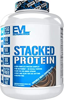 Evlution Nutrition Stacked Protein Protein Powder with 25 Grams of Protein, 6 Grams of BCAAs and 5 Grams of Glutamine (Dou...
