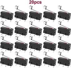 GTIWUNG 20PCS Interruptor de Rodillo Interruptor Mini Límite Micro CNC Final de Carrera enrutador Router Impresora 3D Brazo de Palanca del Interruptor, 5A, 125V-250 V, 3 Pines SPDT