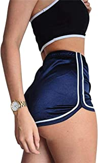 Endand High Waisted Ladies Silk Shorts Summer Slim Fit Elastic Booty Shorts for Women