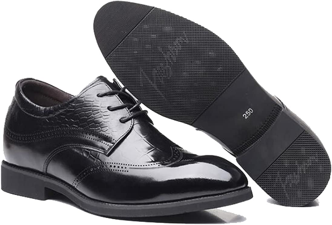 LHRFC 6cm Men Elevator Dress Shoes Men Oxford Elegant Formal Shoes Office Height Increasing Mens Footwear Black-EU40