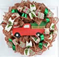 Clearance Christmas Tree Farm Truck Wreath | Rustic Christmas Wreath | Front Door Wreath | Red Jute Green