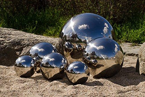 Köhko 8er Set Dekokugeln in 4 unterschiedlichen Größen (1xØ12cm, 1xØ9cm, 2xØ6cm und 4xØ4cm) Glänzend polierte Edelstahlkugel Gartenkugeln Teichkugeln