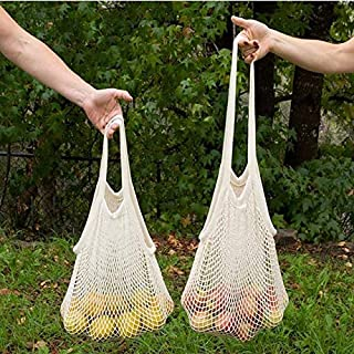 Net Shopping Bag Cotton Market String Reusable Net Shopping Tote with Long Handles Washable Mesh Fruit Vegetable Pack of 2